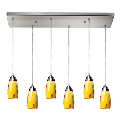 Elk Lighting Modern Multi-Light Pendant Light with Yellow Glass and 6-Lights 110-6RC-YW