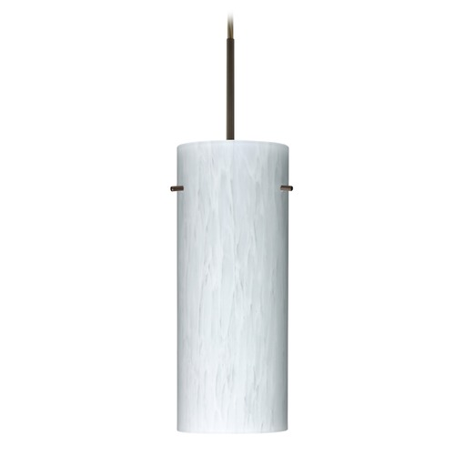 Besa Lighting Besa Lighting Stilo Bronze LED Mini-Pendant Light with Cylindrical Shade 1JT-412319-LED-BR