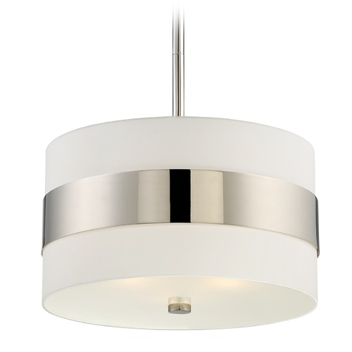 Crystorama Lighting Crystorama Lighting Grayson Polished Nickel Pendant Light with Drum Shade 295-PN