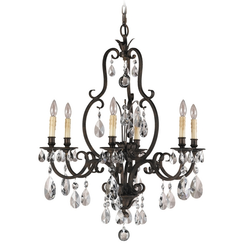 Feiss Lighting Crystal Chandelier in Aged Tortoise Shell Finish F2228/6ATS