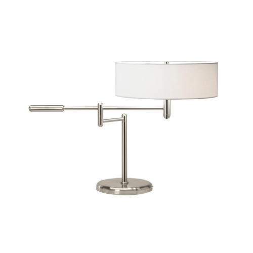 Sonneman Lighting Modern Table Lamp with White Shade in Polished Nickel Finish 7000.35