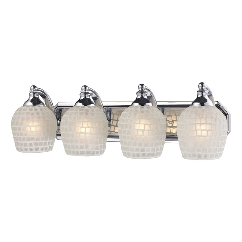 Elk Lighting Bathroom Light with Art Glass in Polished Chrome Finish 570-4C-WHT
