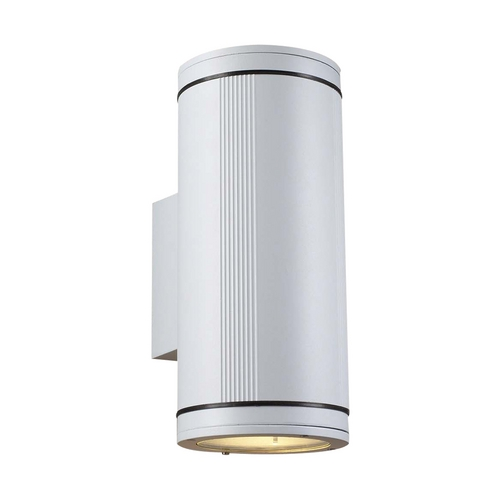 PLC Lighting Modern Outdoor Wall Light with Clear Glass in White Finish 1884 WH