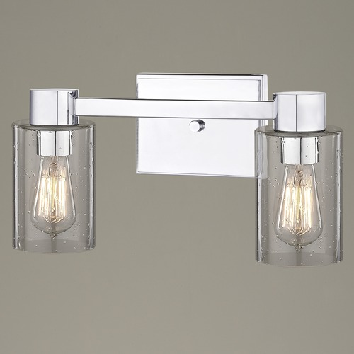 Design Classics Lighting 2-Light Seeded Glass Bathroom Light Chrome 2102-26 GL1041C