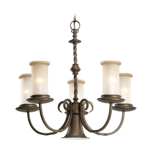 Progress Lighting Progress Chandelier with Beige / Cream Glass in Roasted Java Finish P4587-102