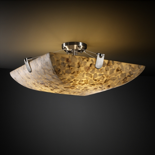 Justice Design Group Justice Design Group Alabaster Rocks! Collection Semi-Flushmount Light ALR-9614-25-NCKL