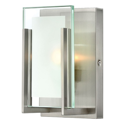Hinkley Lighting Modern Bathroom Light with Clear Glass in Brushed Nickel Finish 5650BN