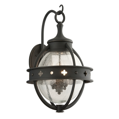 Troy Lighting Outdoor Wall Light with Clear Glass in Forged Black Finish B3683