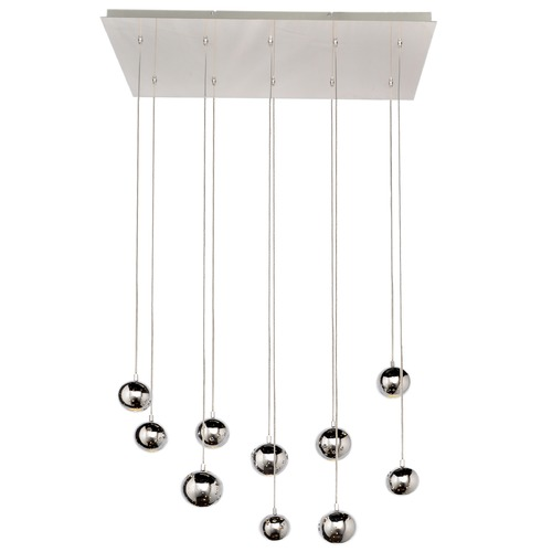 ET2 Lighting Polaris Polished Chrome LED Multi-Light Pendant with Globe Shade E24487-PC