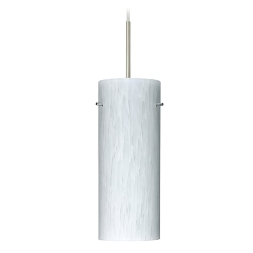 Besa Lighting Besa Lighting Stilo Satin Nickel LED Mini-Pendant Light with Cylindrical Shade 1JT-412319-LED-SN