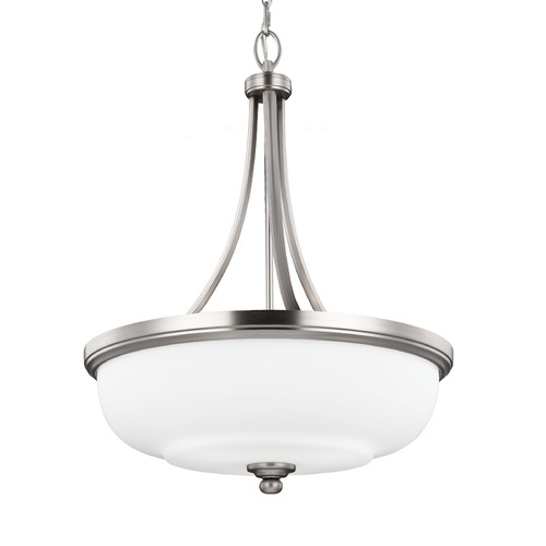 Feiss Lighting Feiss Lighting Vintner Satin Nickel Pendant Light with Bowl / Dome Shade F2966/3SN