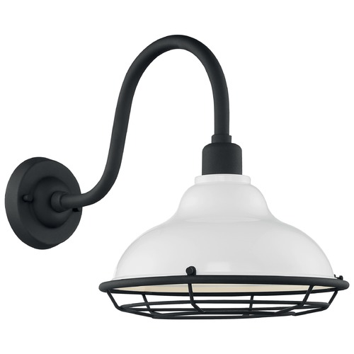 Satco Lighting Satco Lighting Newbridge Gloss White / Textured Black Barn Light 60/7022