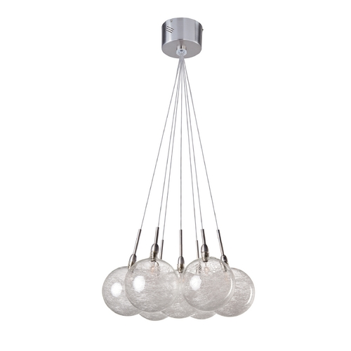 ET2 Lighting Modern Low Voltage Multi-Light Pendant Light with Clear Glass and 7-Lights E20114-79