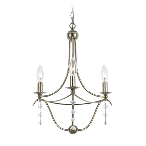 Crystorama Lighting Crystal Mini-Chandelier in Antique Silver Finish 433-SA