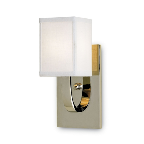 Currey and Company Lighting Modern Sconce Wall Light with White Shade in Nickel Finish 5084