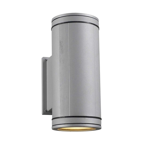 PLC Lighting Modern Outdoor Wall Light with Clear Glass in Silver Finish 1884 SL