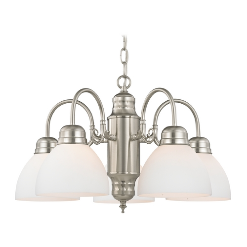 Design Classics Lighting Mini-Chandelier with White Glass in Satin Nickel Finish 709-09 GL1033-WH
