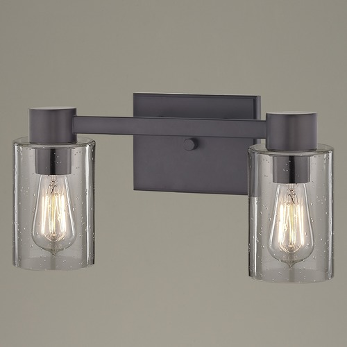 Design Classics Lighting 2-Light Seeded Glass Bathroom Light Bronze 2102-220 GL1041C