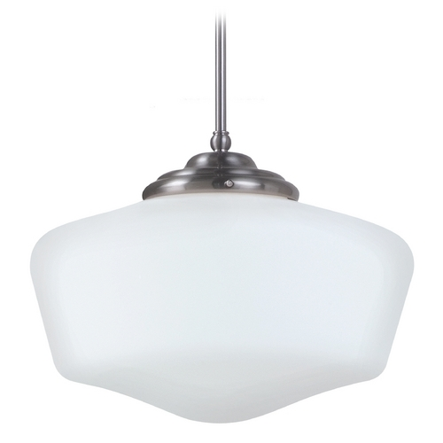 Sea Gull Lighting Schoolhouse Pendant Light with White Glass in Brushed Nickel Finish 65439BLE-962