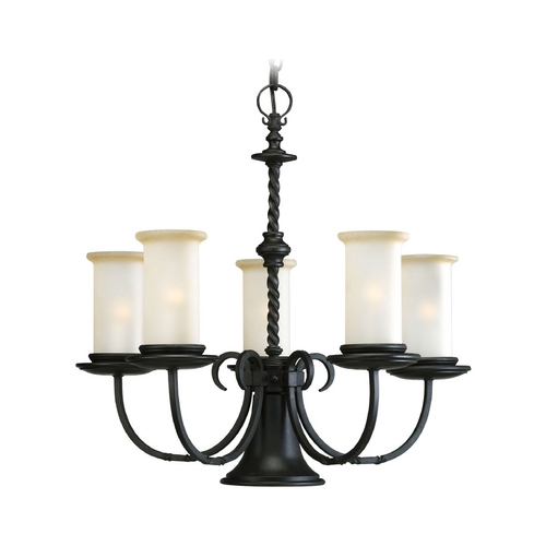 Progress Lighting Progress Chandelier with Beige / Cream Glass in Forged Black Finish P4587-80