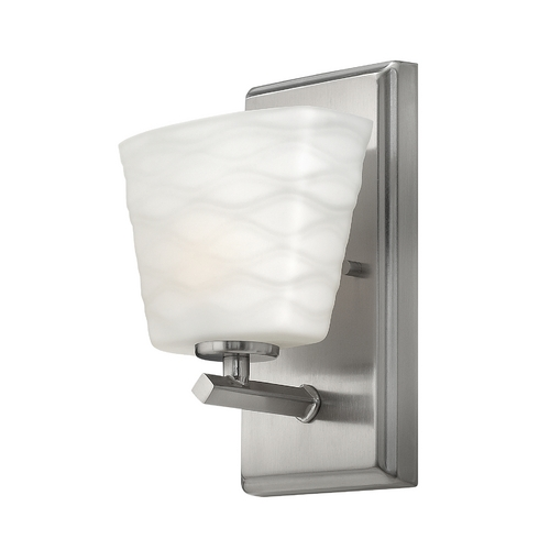 Hinkley Lighting Sconce with White Glass in Brushed Nickel Finish 5200BN