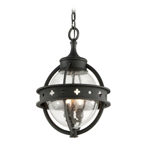 Troy Lighting Outdoor Hanging Light with Clear Glass in Forged Black Finish F3686
