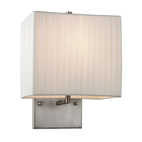 Elk Lighting Modern LED Sconce Wall Light with White Shade in Brushed Nickel Finish 17156/1-LED