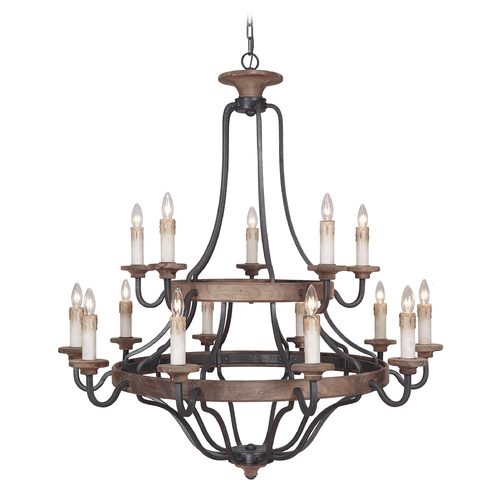 Jeremiah Lighting Jeremiah Lighting Ashwood Textured Black / Whiskey Barrel Chandelier 36515-TBWB