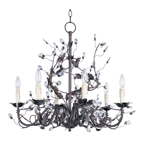 Maxim Lighting Crystal Chandelier in Oil Rubbed Bronze Finish 2851OI