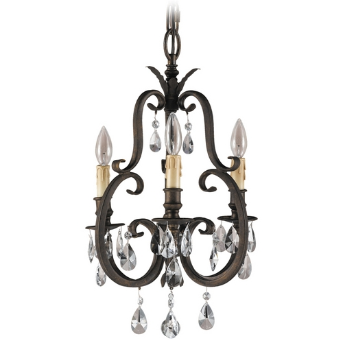 Feiss Lighting Mini-Chandelier in Aged Tortoise Shell Finish F2226/3ATS