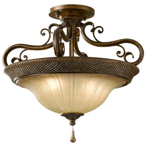Feiss Lighting Semi-Flushmount Light with Art Glass in Firenze Silver Finish SF278FSV