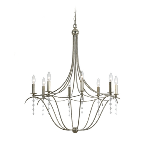 Crystorama Lighting Crystal Chandelier in Antique Silver Finish 438-SA