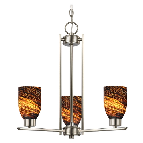 Design Classics Lighting Chandelier with Brown Art Glass in Satin Nickel - 3-Lights 1121-1-09 GL1023D