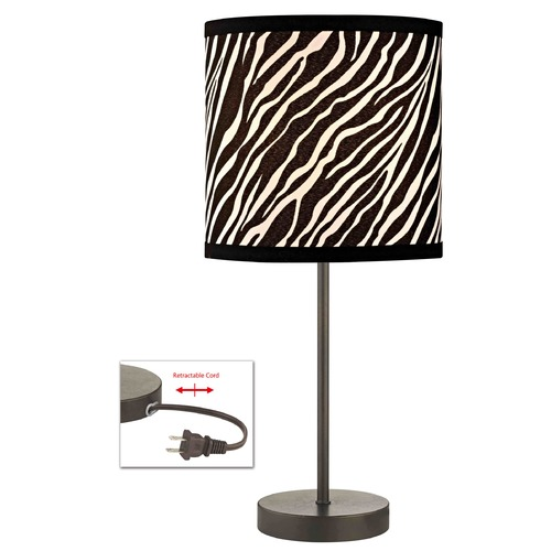 Design Classics Lighting Bronze Table Lamp with Zebra Drum Shade 1904-604 SH9483