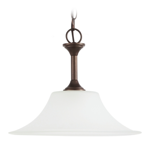 Sea Gull Lighting Pendant Light with White Glass in Bell Metal Bronze Finish 65806-827