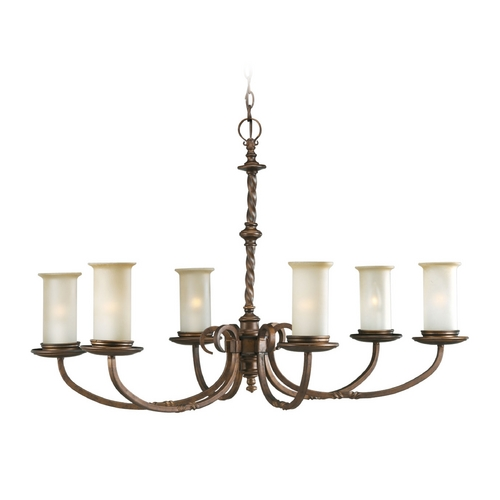 Progress Lighting Progress Chandelier with Beige / Cream Glass in Roasted Java Finish P4588-102