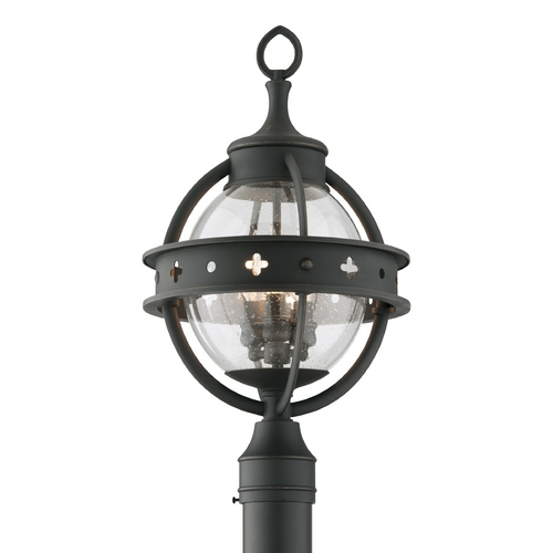 Troy Lighting Post Light with Clear Glass in Forged Black Finish P3684
