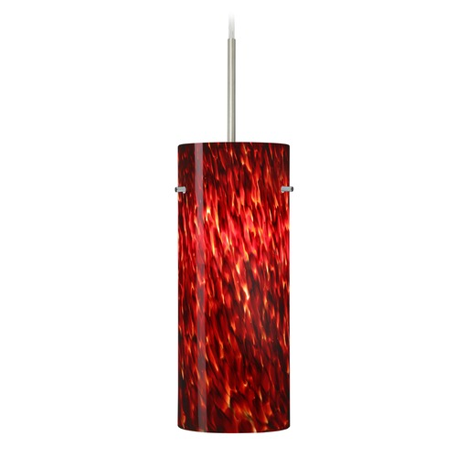 Besa Lighting Besa Lighting Stilo Satin Nickel LED Mini-Pendant Light with Cylindrical Shade 1JT-412341-LED-SN