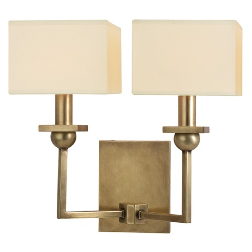 Hudson Valley Lighting Morris 2 Light Sconce Square Shade - Aged Brass 5212-AGB