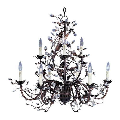 Maxim Lighting Crystal Chandelier in Etruscan Gold Finish 2852EG