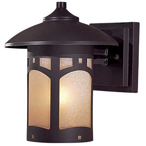 Minka Lavery Outdoor Wall Light with Beige / Cream Glass in Dorian Bronze Finish 8721-A615B