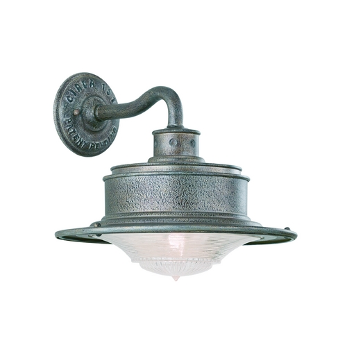 Troy Lighting Outdoor Wall Light with White Glass in Old Galvanize Finish B9390OG