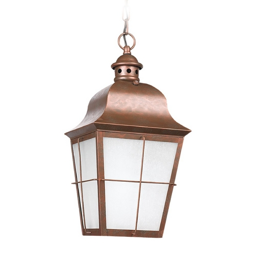 Sea Gull Lighting Outdoor Hanging Light with White Glass in Weathered Copper Finish 69272BLE-44