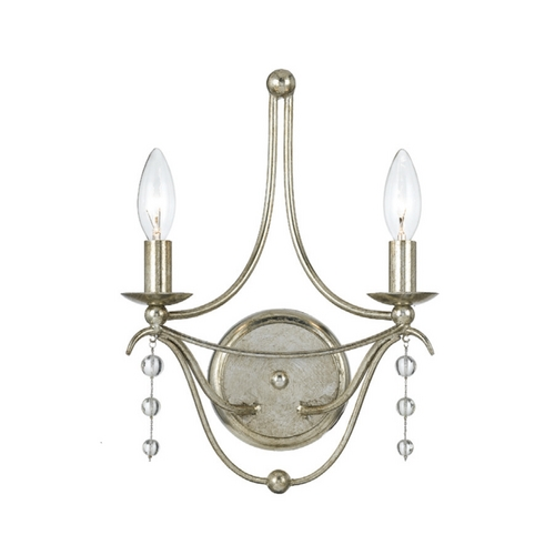 Crystorama Lighting Crystal Sconce Wall Light in Antique Silver Finish 432-SA