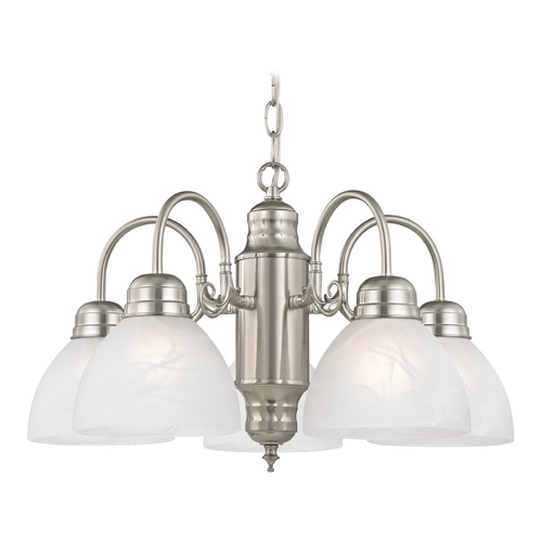 Design Classics Lighting Mini-Chandelier with Alabaster Glass in Satin Nickel Finish 709-09 GL1033-ALB