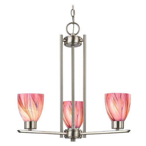 Design Classics Lighting Chandelier with Pink Art Glass in Satin Nickel - 3-Lights 1121-1-09 GL1004MB