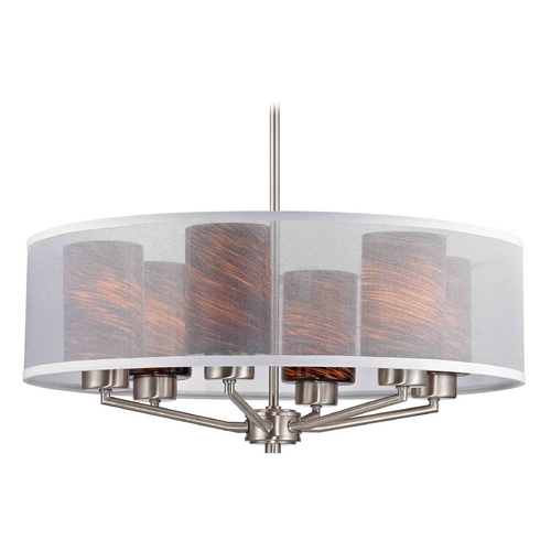 Design Classics Lighting Palatine Fuse Art Glass Satin Nickel Pendant Light with Cylinder Glass 1725-09 GL1023C
