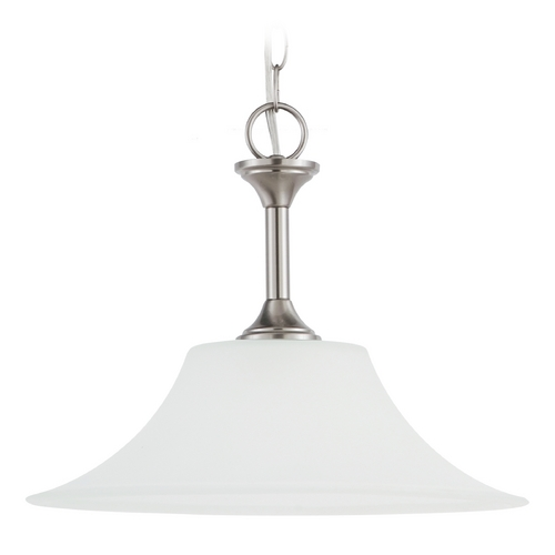 Sea Gull Lighting Pendant Light with White Glass in Brushed Nickel Finish 65806-962