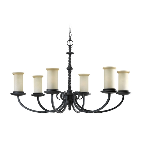 Progress Lighting Progress Chandelier with Beige / Cream Glass in Forged Black Finish P4588-80