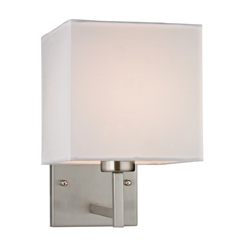 Elk Lighting Modern LED Sconce Wall Light with White Shade in Brushed Nickel Finish 17160/1-LED